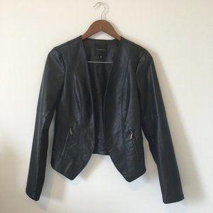 DYNAMITE Black Faux Leather Moto Jacket